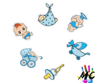 Set of 6 baby blue wooden embellishments