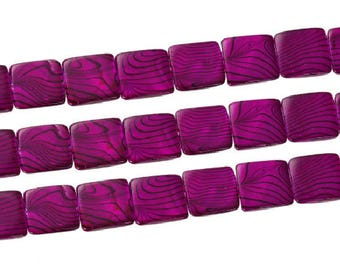 Square purple beads 20 mm, set of 6 shell