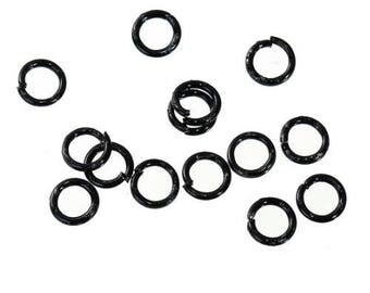 Lot 100 rings open black metal 4 mm