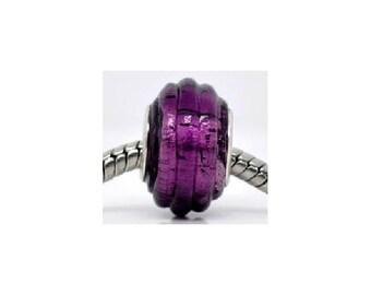 set of 4 dark purple glass 14 mm x 10 mm beads
