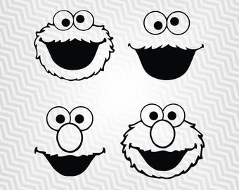 Cookie Monster Svg, Elmo Svg, Outline, Cutout, Vector art, Cricut, Silhouette Cameo, die cut, Digital Cut, Print Files, Ai, Pdf, Svg