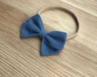 Plain denim bow headband