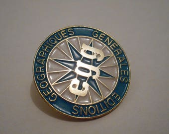 FREE SHIPPING stunning vintage Geographiques Generales Editions metal and enamel hand painted lapel pin / brooch / badge