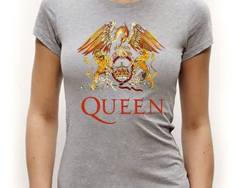 Queen Freddie Mercury Tribute T-Shirt, Queen Crest, Forever Rock Music Band Crest Logo Brian May, Roger Taylor, John Deacon Tee