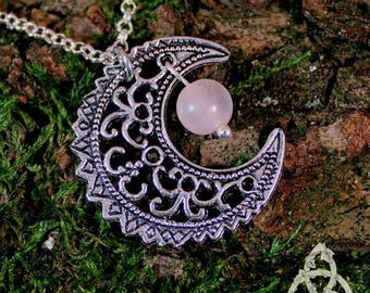 Necklace elven Moon silver and stone gemstone Rose Quartz medieval Celtic fantasy pagan wicca esoteric wedding