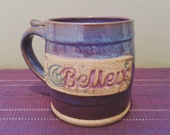 "12 Oz Mug ~ ""Believe"" Purples, Violets, Blues"