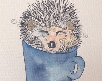 This is my cup of tea, little hedgehog. Watercolor postcard size 10 X 15