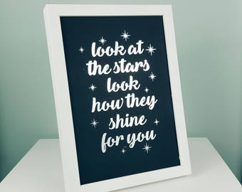 A4/A3 Coldplay Print - Coldplay Poster - Coldplay Lyrics - Coldplay Picture - Silver Foil Print - Coldplay Wall Art - Look At The Stars