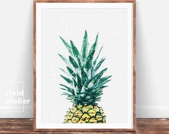 Pineapple Print, Tropical Printable Art, Pineapple Wall Print, Wall Decor, Pineapple Wall Art, Pineapple Poster, Watercolor Pineapple, Print