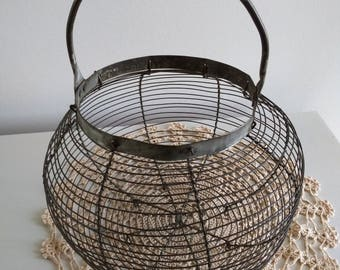Vintage metal egg basket