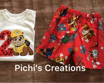 Paw Patrol Birthday Outfit, Rubble Paw Patrol Birthday Outfit For Boys, Rubble Paw Patro Birthday Shirt