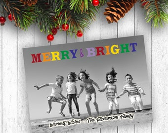 Photo Christmas Cards, Printed Christmas Cards, Black and White Photo Card, Merry and Bright, Picture Christmas Cards, Holly Christmas Cards
