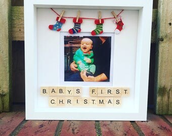 Christmas box photo frame personalised with scrabble tiles