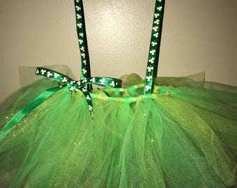 St Patricks day tutu skirt, ribbon suspenders, four leaf clovers, green tulle tutu, size 0-3 months