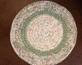 Rag rug , crochet rug , round rag rug , green and peach rug, cottage rug, rustic rug, nursery rug, bath mat, country rug