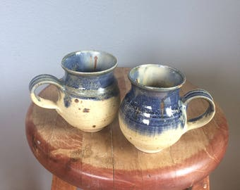 vintage, adorable hand made pottery mugs, blue, with cream specks