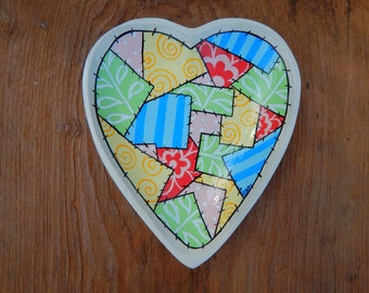 Heart Shaped hand painted wooden tray