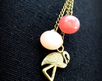 Necklace Flamingo Pink and pink boots buttons