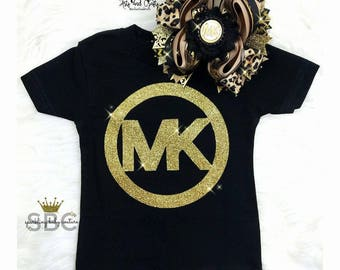 Baby Girl Toddler Michael Kors Inspired Shirt and Matching Over The Top Bow