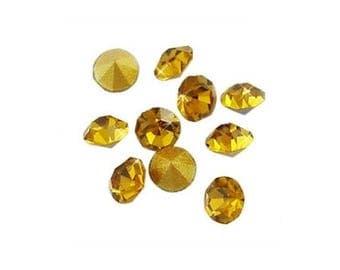 Diamond 2 mm x 10 Topaz rhinestones