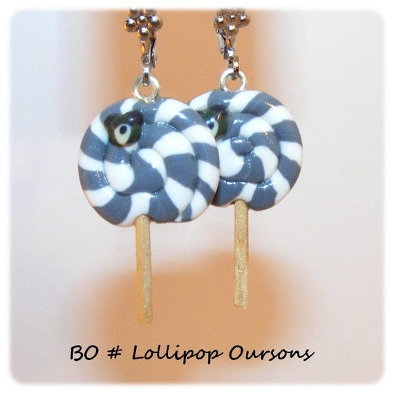 Earrings # polymer # # # # small bears # earrings # gift treats lollipop candy cane kid # dollydoo