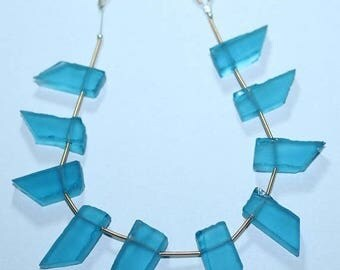 80% OFF SALE Amazing Sky Blue Quartz Slab Beads 10 Pieces