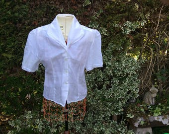 White size 12 short sleeved broiderie anglaise trimmed (collar and short sleeves blouse) size 14