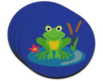 Frog On Lily Pad Mdf Wood Coaster Set Of 4