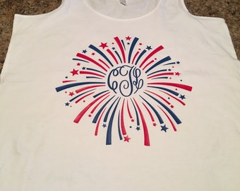 Monogram firework tank top. Great for 4th of July! Independence day apparel. Flowy tank top.