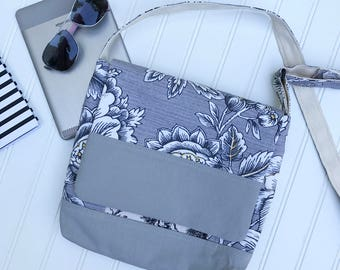Messenger Bag, Cross Body Bag, Cross Body Purse, Tablet Bag, Digital Reader Bag, Gray and White Bag, Cross Shoulder Bag, Vegan Bag