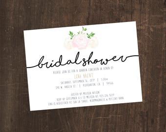 Printable Bridal Shower Invitation - ivory/white Peonies - simple and elegant - digital download