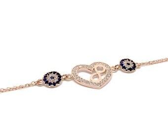 Stunning 925 Sterling Silver, Rose Gold bracelet, Heart & Infinity Bracelet, Women's Jewellery, Birthday Gifts for Women. Gift Box Included