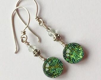 Dichroic Glass and Titanium Drop Earrings ~ Mosi