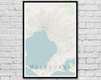 Melbourne Map Print | Victoria Map Print | Apartment Print | City Map Print | Wall Art Poster | Travel Print | Wall decor | A3 A2