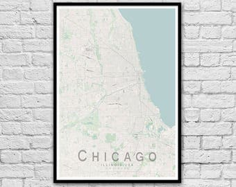 CHICAGO Illinois USA City Street Map Print | Wall Art Poster | Wall decor | A3 A2