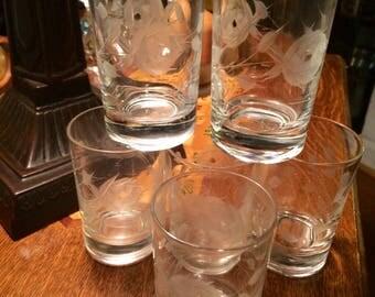 Five Vintage Crystal Etched Roses Juice Glasses