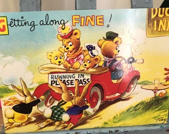 Bamforth Merry Message Series. Getting Along Fine Postcard. Teddy Bear Postcard.