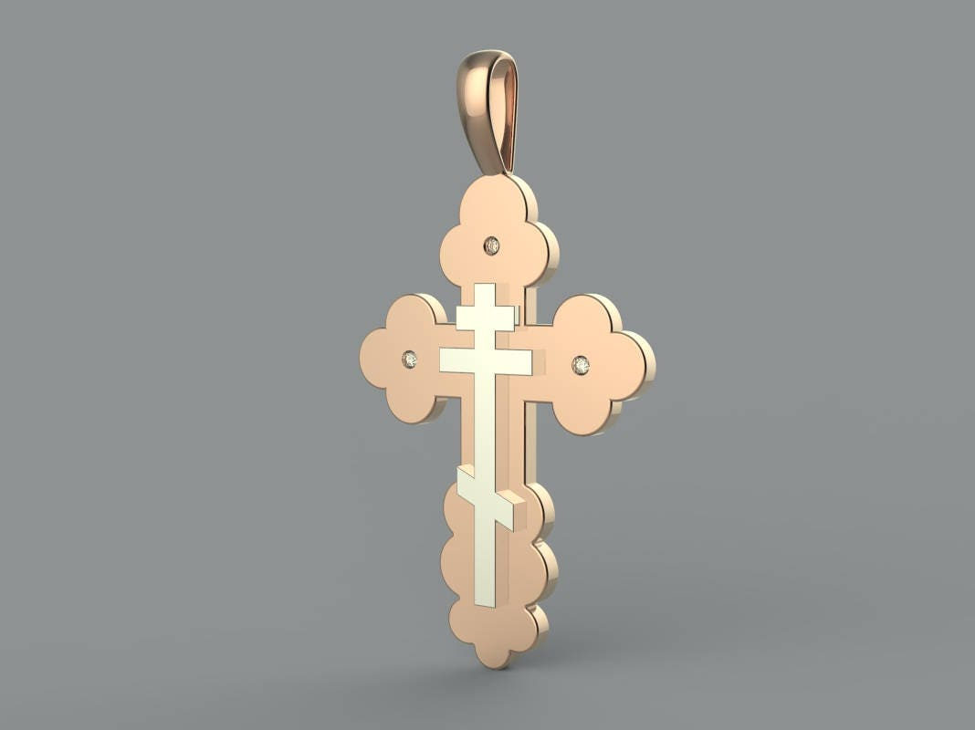 Two tone orthodox cross in solid rose gold white gold byzantine two tone orthodox cross in solid rose gold white gold byzantine cross russian orthodox cross baptism cross eastern orthodox cross buycottarizona