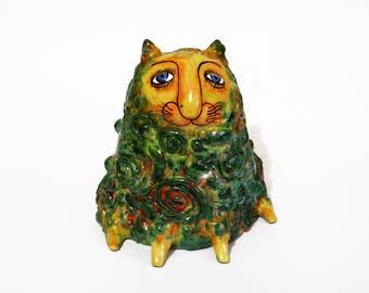 Сat art ceramic Figurine Miniature, Cat Sculpture, Ceramic Cat, Clay Cat Figurine, collectible figures, gifts for cat lovers