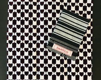 Men's Handkerchief- reversible - African -black, white - kente and hearts