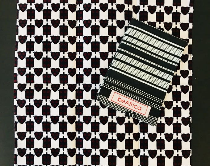 Featured listing image: Men's Handkerchief- reversible - African -black, white - kente and hearts
