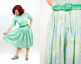 1950s Soft Blue / Green Abstract Floral Print Dress - Small