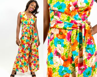 1960s Bright Floral Jumpsuit with Wrap Cross Closure - XS