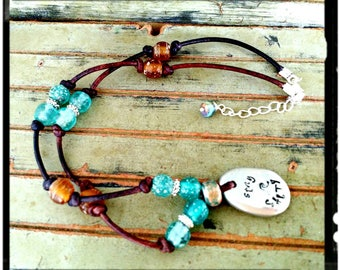 Pewter Pebble & Leather Choker - Stamped Pewter 'Stay Salty'//Aqua/Amber Recycled Glass Beads//Silver Accents - Beach Necklace/Surfer -Gift