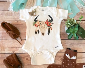 Boho Baby Clothes, Skull Baby Onesie®, Baby Shower Gift, Baby Girl Clothes, Hippie Baby, Bohemian Baby, Antler Baby, Cute Baby Clothes