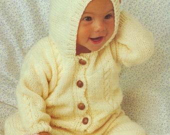 PDF Instant Digital Download baby childs aran hooded jacket leggings mitts knitting pattern  14/28 inch (557)