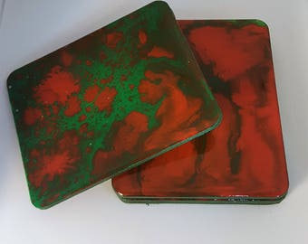 Abstract Art Coasters in Red and Green