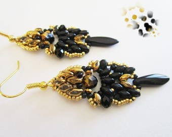 Woven earrings, black beads and gold super duos and black dagger