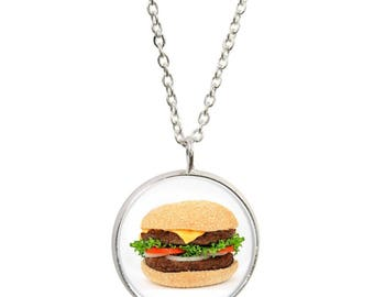 Burger Pendant and Silver Plated Necklace