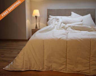 King Comforter All Season thickness, natural wool filled / perfect warmth wool duvet.